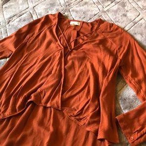 Silence + Noise Burnt Orange Shirt Size Medium